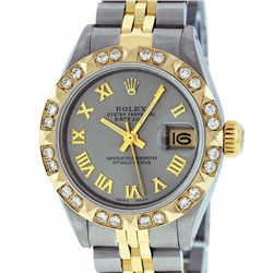 Rolex Ladies 2 Tone 14K Gray & Pyramid Diamond Datejust Wriswatch