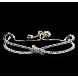 2.55 ctw Diamond Bangle Bracelet - 14KT White Gold