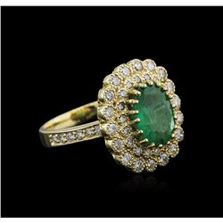14KT Yellow Gold 3.11 ctw Emerald and Diamond Ring