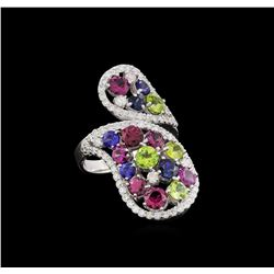 14KT White Gold 5.32 ctw Multi Gemstone Ring