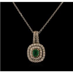 0.89 ctw Emerald and Diamond Pendant With Chain - 14KT White Gold