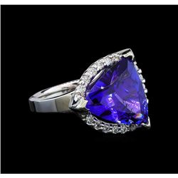 GIA Cert 6.52 ctw Tanzanite and Diamond Ring - 14KT White Gold