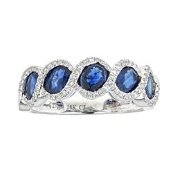 2.53 ctw Sapphire and Diamond Ring - 18KT White Gold