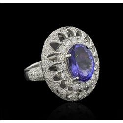 6.24 ctw Tanzanite and Diamond Ring - 14KT White Gold