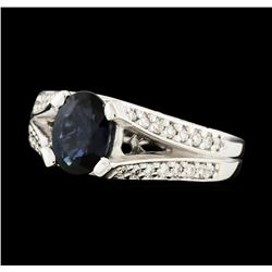 1.61 ctw Sapphire and Diamond Ring - 14KT White Gold