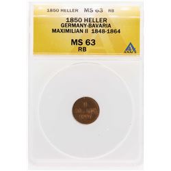 1850 Germany-Bavaria Maximilian II Heller Coin ANACS MS63RB
