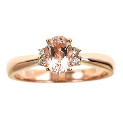 0.74 ctw Morganite and Diamond Ring - 14KT Rose Gold