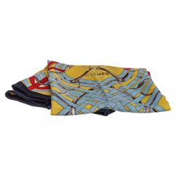 Hermes Yellow Multicolor Gener Peris Print Scarf