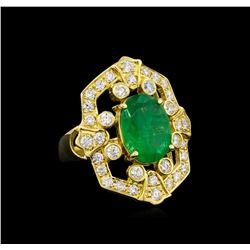14KT Yellow Gold 2.85 ctw Emerald and Diamond Ring