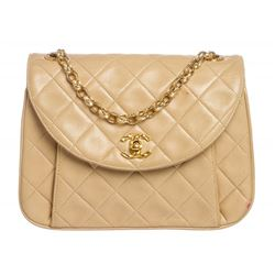 Chanel Beige Quilted Lambskin Leather Bijoux Flap Bag