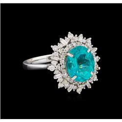 3.03 ctw Apatite and Diamond Ring - 14KT White Gold