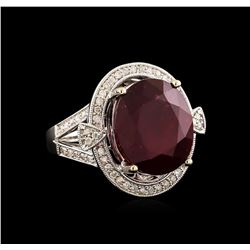 14KT White Gold 14.49 ctw Ruby and Diamond Ring