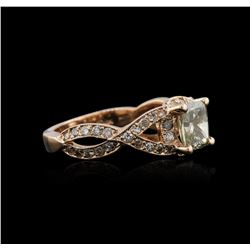 14KT Rose Gold 1.78 ctw Fancy Green Diamond Ring