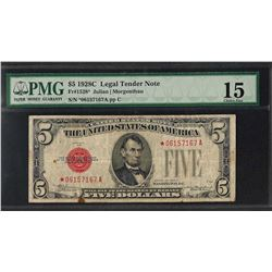 1928C $5 Legal Tender STAR Note Fr.1528* PMG Choice Fine 12
