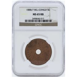 1888/7 Belgian Congo 5 Centimes Coin NGC MS65RB