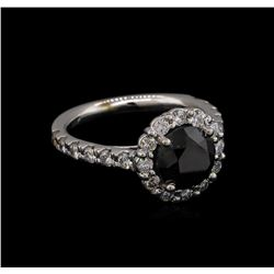 3.56 ctw Black Diamond Ring - 14KT White Gold