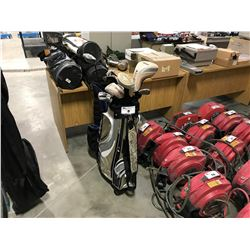 2 GOLF BAGS AND ASSORTED CLUBS