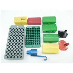 ASSORTED RELOADING BLOCKS, CASES & FUNNELS
