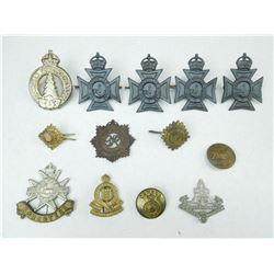 ASSORTED CAP/COLLAR BADGES,  BUTTONS & PIPS