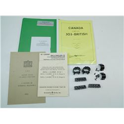 ASSORTED MILITARY MATERIAL, SCOPE RINGS & STRIPPER CLIPS