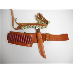 ASSORTED AMMO BELTS & BELT KNIFE