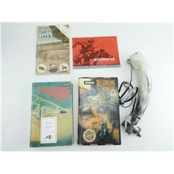 ASSORTED FIREARMS BOOKS & POWDER HORN