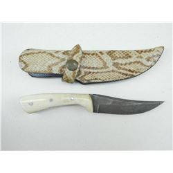 FIXED DAMASCUS BLADE KNIFE WITH LEATHER SHEATH