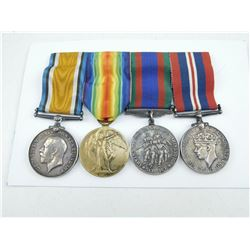WWI BRITISH/CND GROUP OF 4 MEDALS