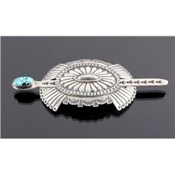 Navajo Sterling Silver Turquoise Hair Barrette