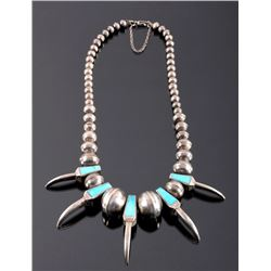 Navajo Bear Claw Turquoise & Sterling Necklace