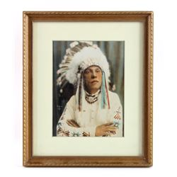 Chief Eagle Feathers Hand Tinted Photograph