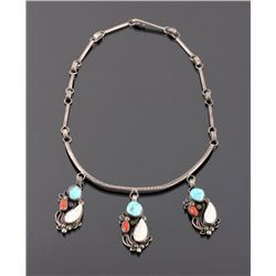 Navajo Sterling Silver Turquoise Coral Necklace