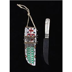 Sioux Fully Beaded Sheath & Trade Knife