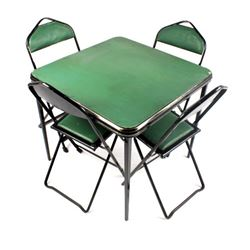 Mid-Century Folding Table and Chairs
