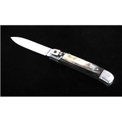 German Buffalo Horn Lever Lock Switchblade Knife