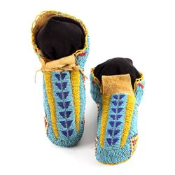 Lakota Sioux Fully Beaded Moccasins c. 1900