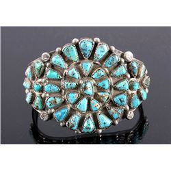 Navajo Sterling Silver Faceted Turquoise Cuff