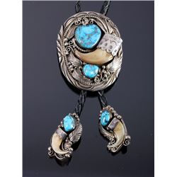 Navajo Sterling Silver Turquoise Claw Bolo Tie