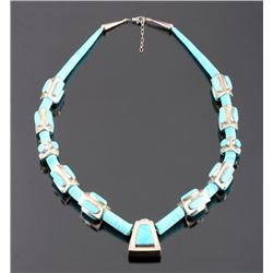 Signed Navajo Sterling Silver Turquoise Necklace