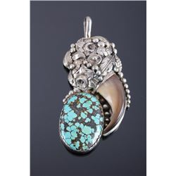Navajo Sterling Silver Bear Claw Turquoise Pendant