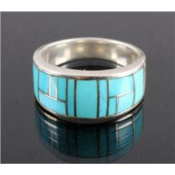 Ray Tracey Navajo Sterling Silver Turquoise Ring