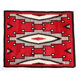Large Navajo Ganado Pattern Wool Rug c.19th C