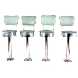 Soda Fountain Upholstered Swivel Stools (4) c.1945
