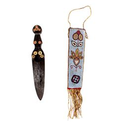Cree American Indian Dag Knife & Sheath c. 1840-50