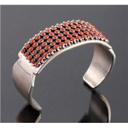 Navajo Sterling Silver Coral Cuff Signed