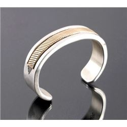 Navajo Sterling Silver 14K Gold Cuff Signed
