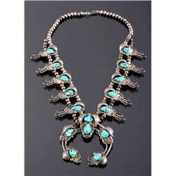 Navajo Sterling Silver Turquoise Squash Blossom