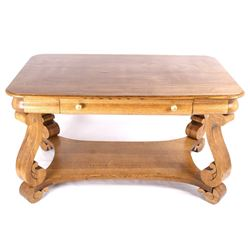 Early Oak Trestle Foot Library Table c. 1900-