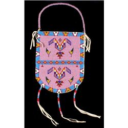 Lakota Sioux Indian Polychrome Beaded Flat Bag