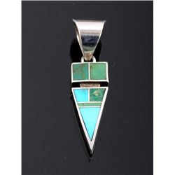 Signed Navajo Inlaid Turquoise Arrow Pendant